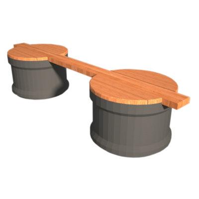 BASILE banc poutre plastique recyclé Mix Urbain